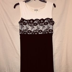 Lacy Knee Length Off White and Black Dress.